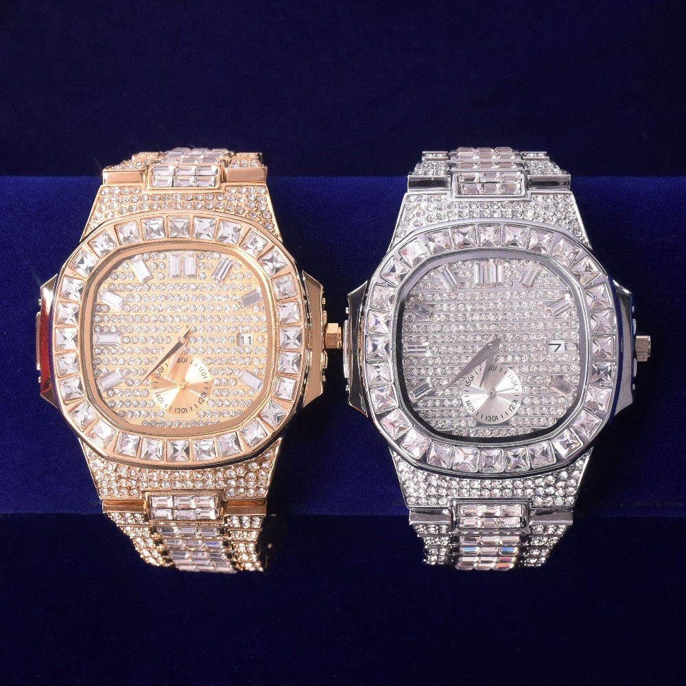 Reloj Baguette de lujo Iced Out Big Face