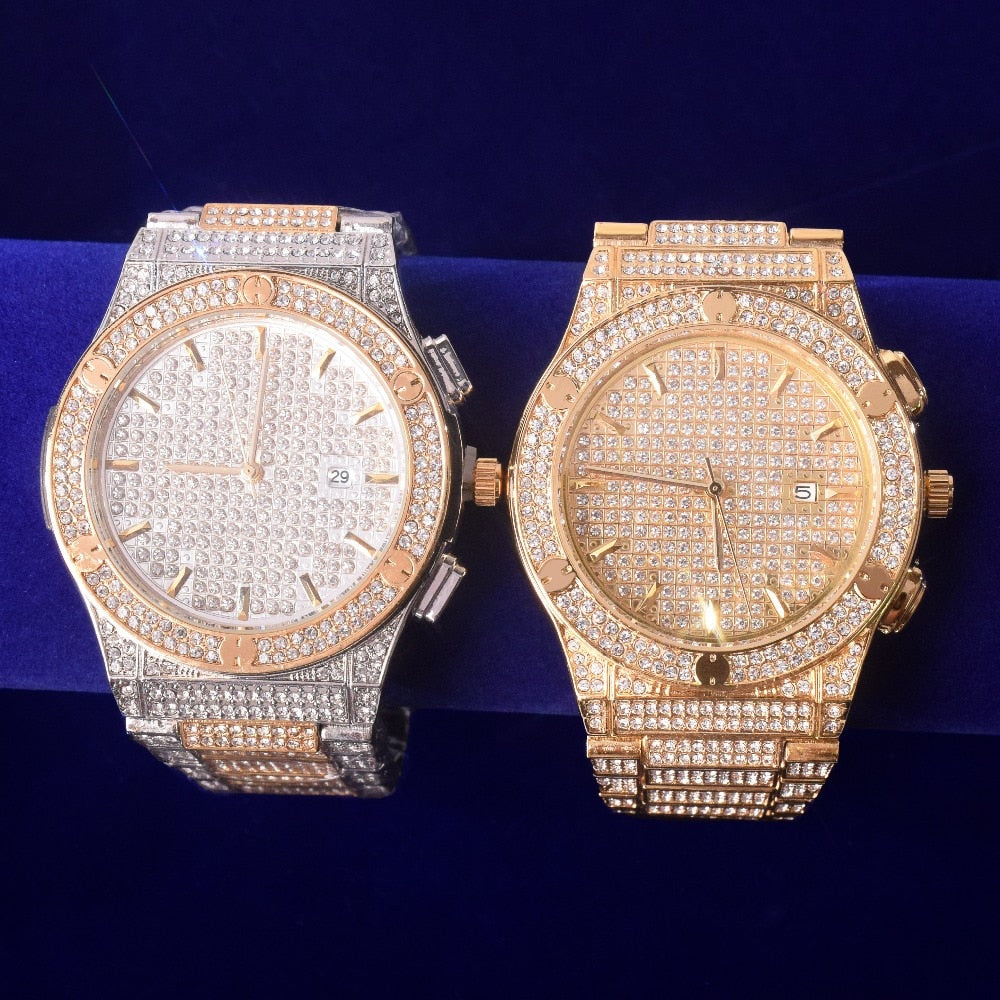 Iced Out Military Quartz Luxury Watch