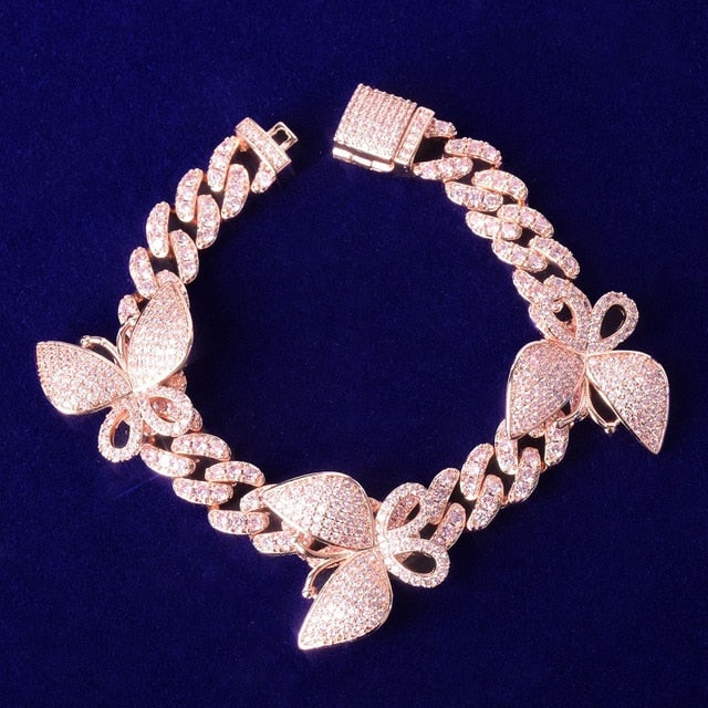 10mm Miami Cuban Link Butterfly Bracelet