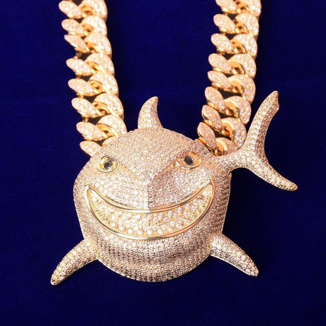 Iced Out Great White Shark CZ Pendant