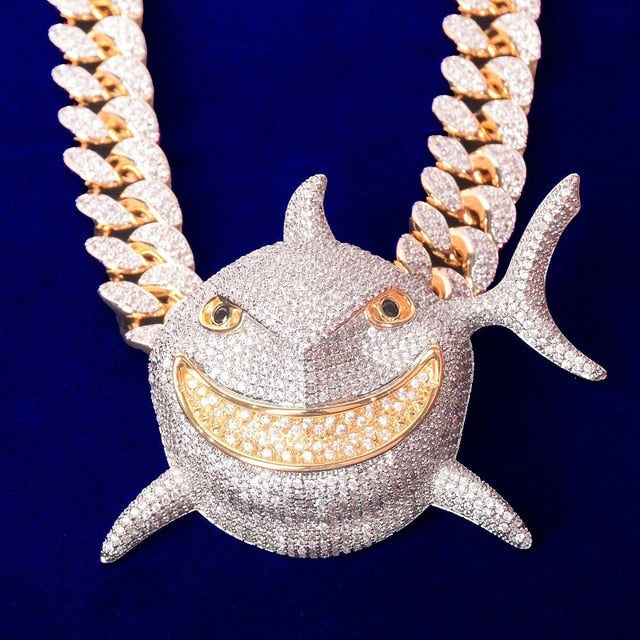 Iced Out Great White Shark Pendant