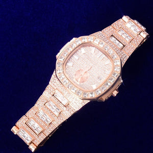 Iced Out Big Face Luxury Baguette Watch