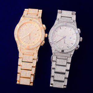 Iced Out Military Quartz Luxury CZ Watch