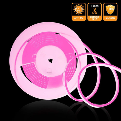 12V 6x12mm Pink LED Silicone Neon Light -16.4ft -