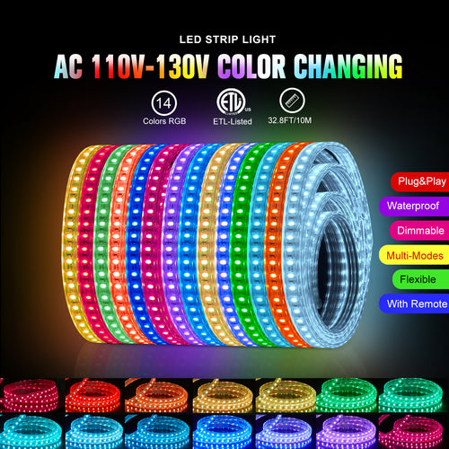 120V 8x15.5mm LED RGB Strip Light - 32.8ft -