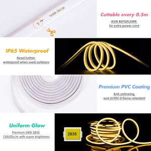 110-120V 150ft 3000K Warm White LED Neon Rope Light