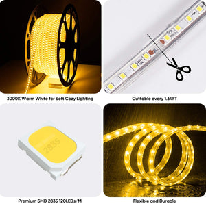 120V 3000K Warm White Light Strip Shine-Decor