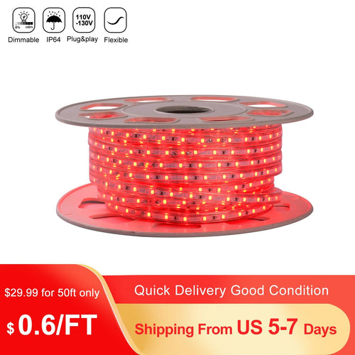 110V 7x10mm Red LED Strip Light - 50ft -