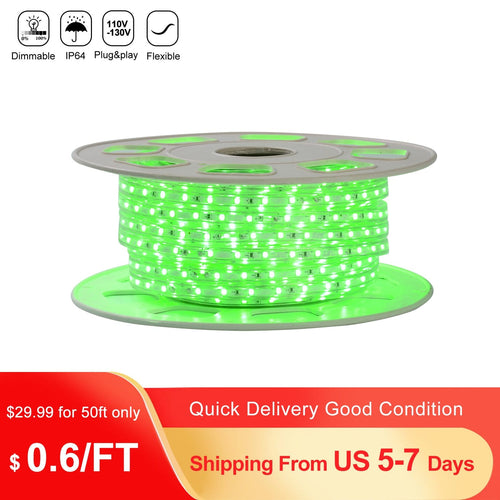 110V 7x10mm Green LED Strip Light - 50ft -