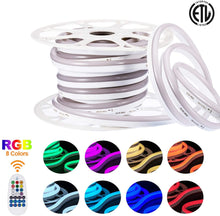 Load image into Gallery viewer, 8 color 120V 12.5x23mm LED RGB Neon Rope Light - 82ft