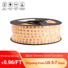 Load image into Gallery viewer, 110V 7x13mm LED Strip Light 3000K Warm White -82ft -