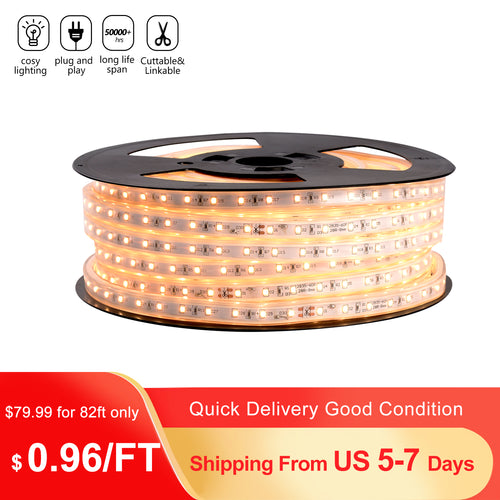 110V 7x13mm LED Strip Light 3000K Warm White -82ft -
