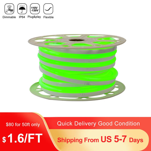 110V 15x25mm Green LED Neon Rope Light -50ft -