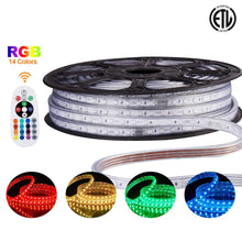 Load image into Gallery viewer, 120V 8x15.5mm LED RGB Strip Light - 50ft -