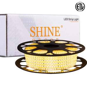 120V 6x10mm LED Strip Rope Light 3000K Warm White -50ft -