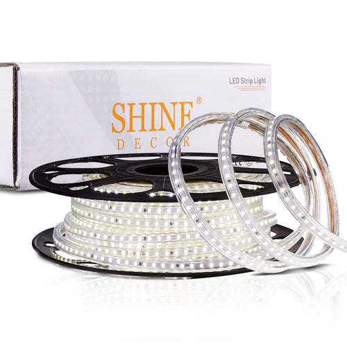 220V-240V 6x10mm 6500K Cool White LED Strip Light -50ft -