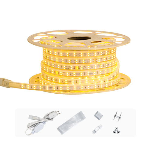 120V 7x15mm Double Row LED Strip Rope Light 3000K Warm White  -50ft -