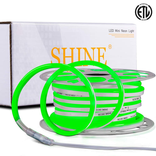120V 7x14.5mm Green LED Neon Rope Light -50ft -