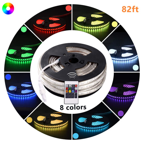 110V 7x15mm LED RGB Strip Light - 82ft -