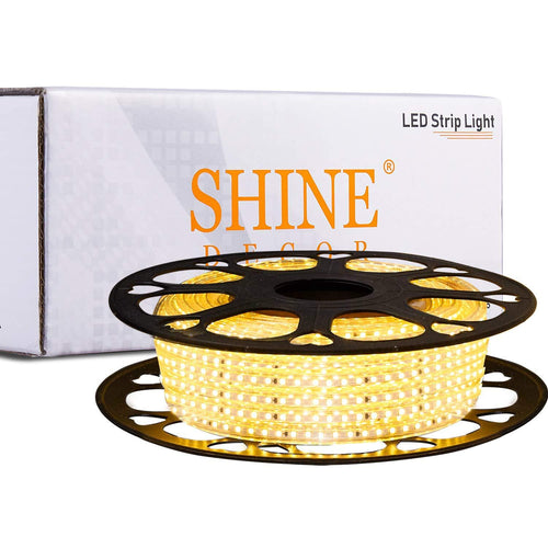 220V-240V 6x10mm 3000K Warm White LED Strip Light -50ft -
