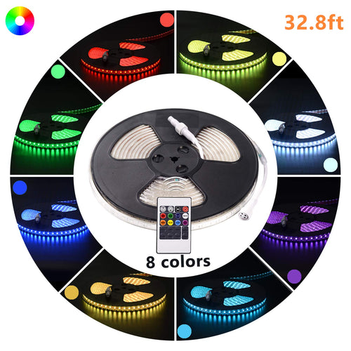 110V 7x15mm LED RGB Strip Light - 32.8ft -