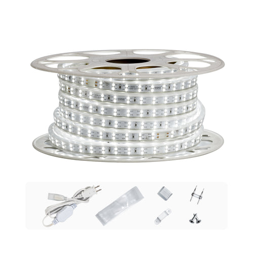 120V 7x15mm Double Row LED Strip Rope Light 6500K Cool White  -50ft -