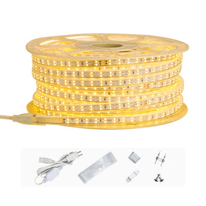 120V 7x15mm Double Row LED Strip Rope Light 3000K Warm White  -150ft -