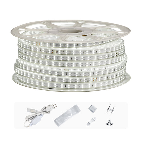 120V 7x15mm Double Row LED Strip Rope Light 6500K Cool White  -150ft -