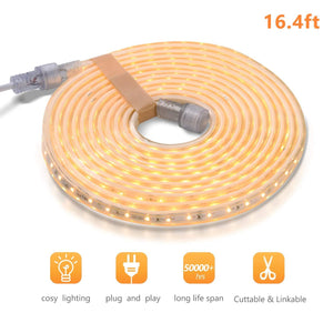 110V 7x13mm LED Strip Light 3000K Warm White -16.4ft -