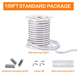 120V 7x14.5mm LED Neon Rope Light 3000K Warm White -150ft -