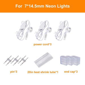 Power Cord for 220V-240V 7x14.5mm LED Neon Light only -