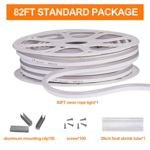 120V 7x14.5mm LED Neon Rope Light 3000K Warm White -82ft -