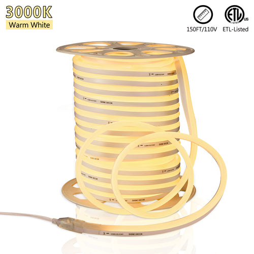 120V 12.5x23mm LED Neon Rope Light 3000K Warm White - 150ft -