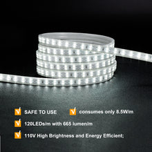 Load image into Gallery viewer, 120V 7x15mm Double Row LED Strip Rope Light 6500K Cool White  -50ft -