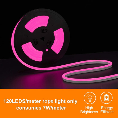 220V-240V 7x14.5mm Pink LED Neon Light -16.4ft -