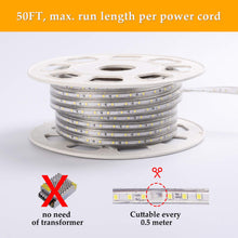 Load image into Gallery viewer, 110V 7x10mm LED Strip Light 6500K Cool White - 50ft -