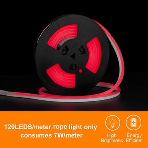 220V-240V 7x14.5mm Red LED Neon Light -16.4ft -