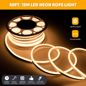 Shine Decor Connectable LED Neon Rope Lights Outdoor Cold-Resistant