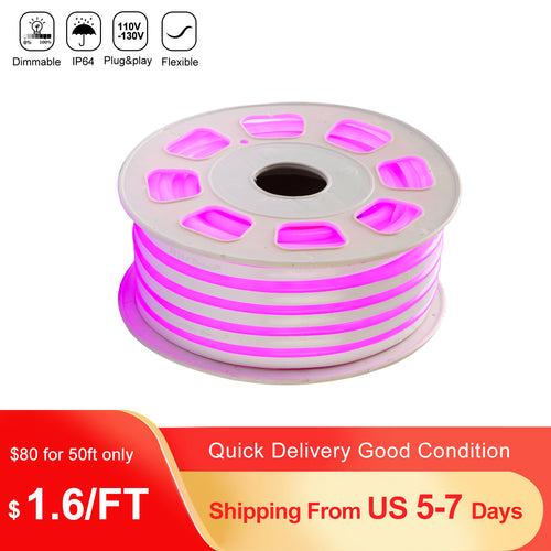 110V 8x16mm Pink LED Mini Neon Rope Light - 50ft -