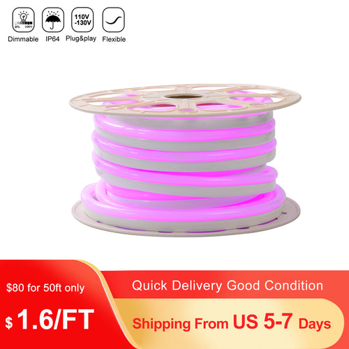 110V 15x25mm Pink LED Neon Rope Light -50ft -