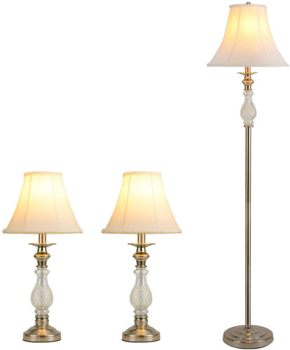 Elegant White Table Lamps Floor Lamp 3-Pieces Lamp Set-Shine Decor