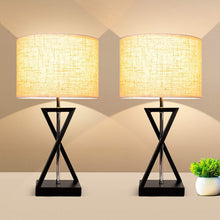 Load image into Gallery viewer, Geometrical Nightstand Table Lamp Set of 2, Modern Bedside Nightlight LED Desk Lights-Shine Deocor