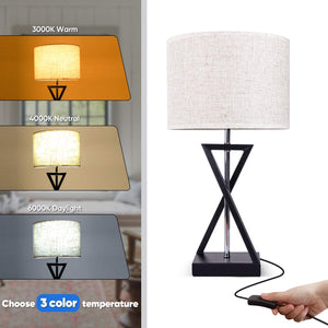 Geometrical Nightstand Table Lamp Set of 2, Modern Bedside Nightlight LED Desk Lights-Shine Deocor