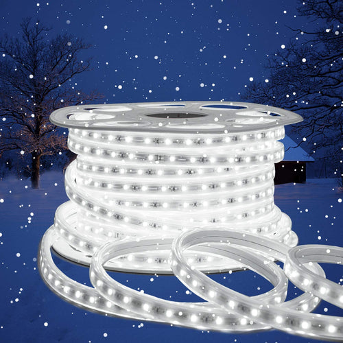 110V 7x13.5mm End to End LED Strip Light 6500K Cool White -82ft