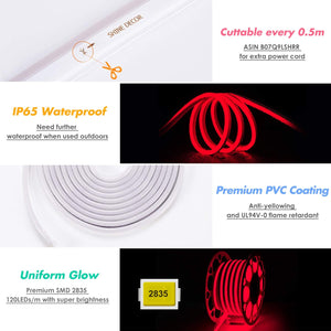 Red LED neon strip rope light, SMD2835, 50ft-Shine Decor
