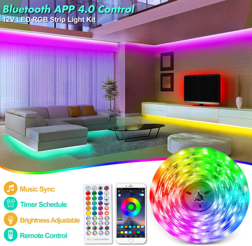12V Bluetooth RGB LED Strip Lights Kit-16.4ft -
