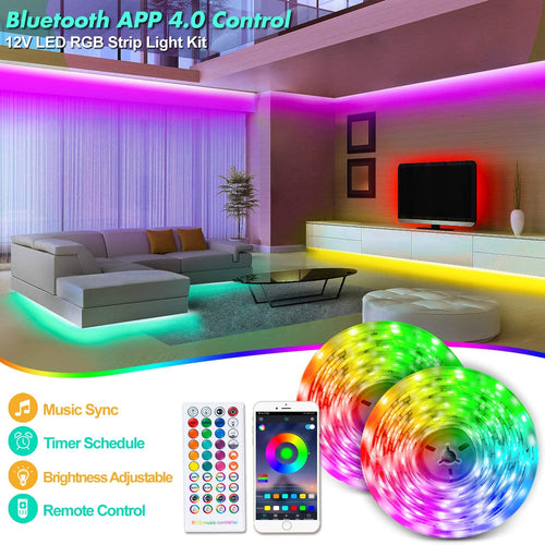 12V Bluetooth RGB LED Strip Lights Kit-32.8ft -