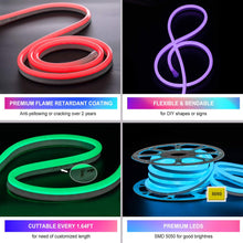 Load image into Gallery viewer, 120V 12.5x23mm LED RGB Neon Rope Light - 50ft -