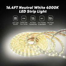 Load image into Gallery viewer, 110V 7x10mm LED Strip Light 4000K Neutral White - 16.4ft -