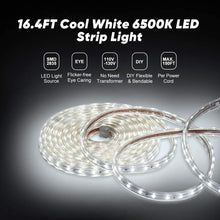 Load image into Gallery viewer, 110V 7x10mm LED Strip Light 6500K Cool White - 16.4ft -